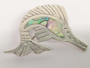 Sailfish Marlin Sterling Silver Abalone Brooch Pin
