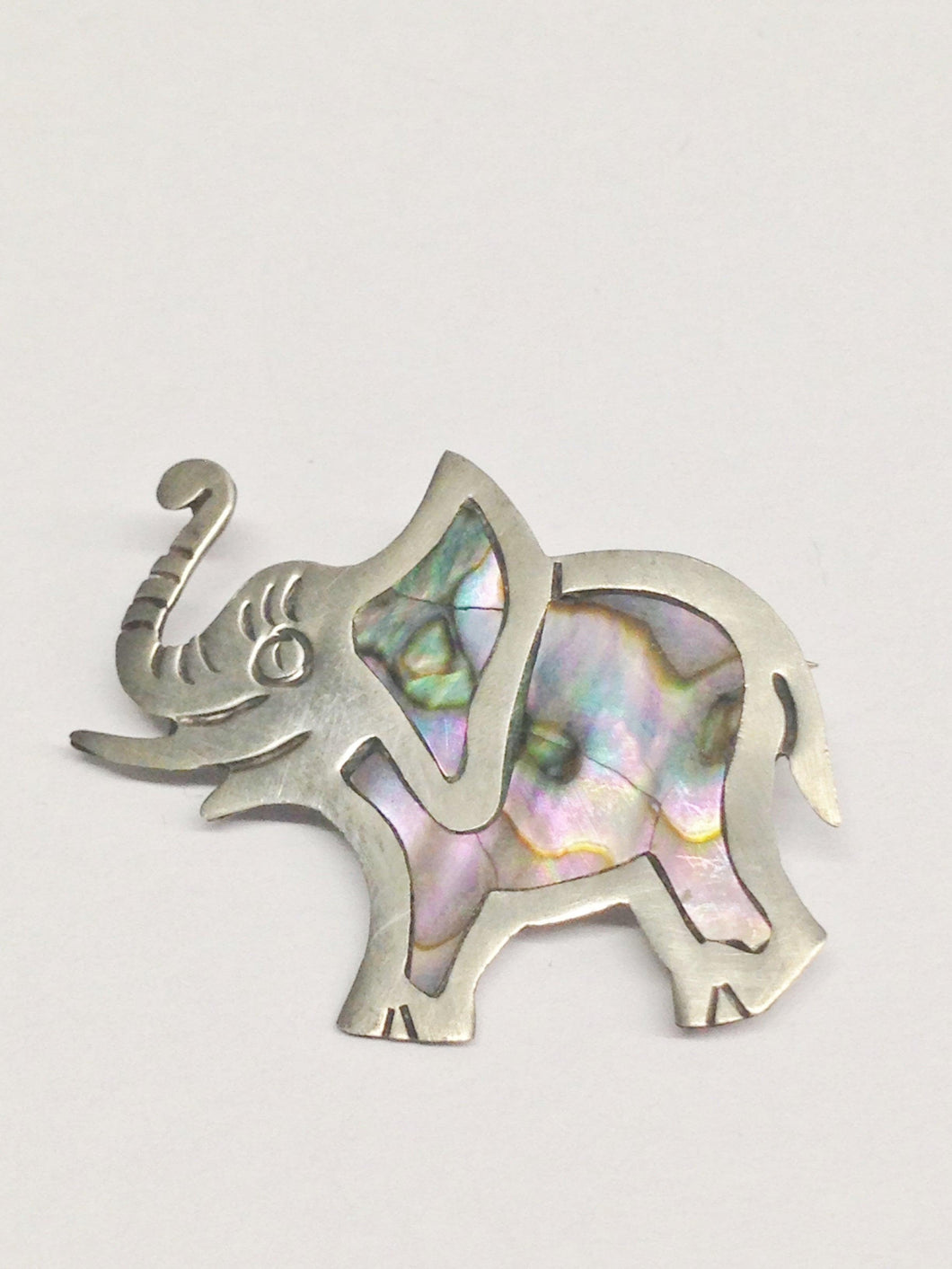 Sterling Silver Elephant Brooch Pin With Abalone Inlay