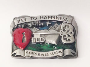 1984 Bergamot Brass Works God Key To Happiness Belt Buckle USA www.hersandhistreasures.com