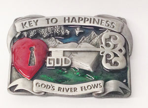 1984 Bergamot Brass Works God Key To Happiness Belt Buckle USA