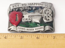 Load image into Gallery viewer, 1984 Bergamot Brass Works God Key To Happiness Belt Buckle USA www.hersandhistreasures.com
