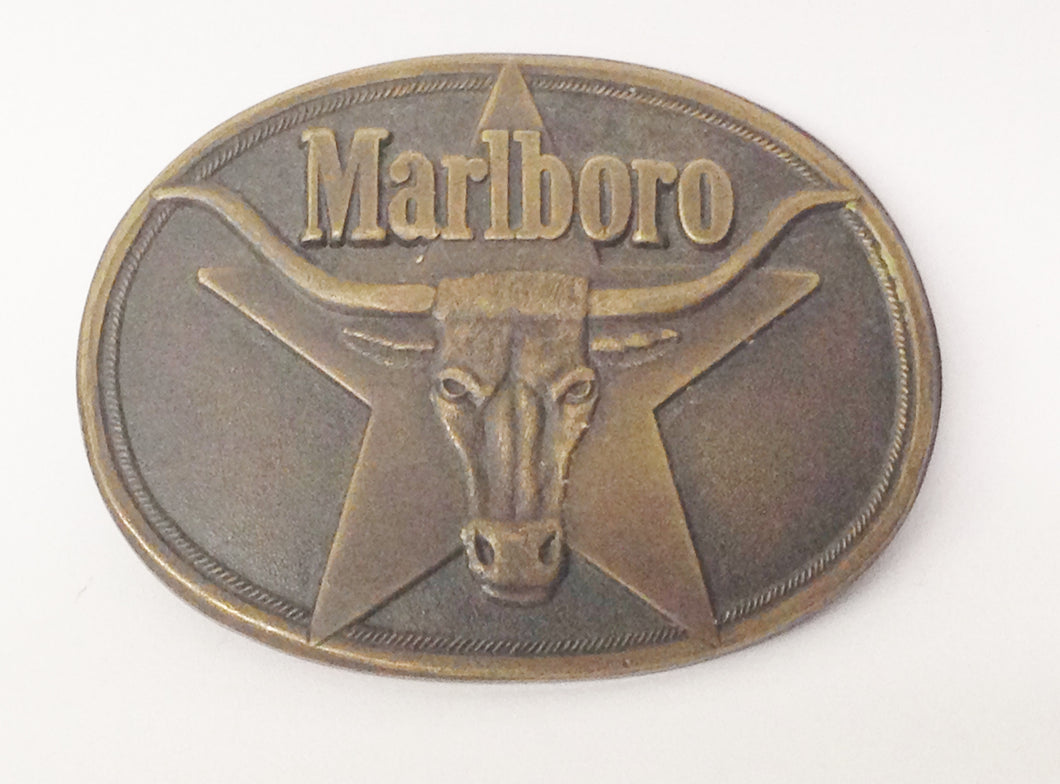 1987 Philip Morris Marlboro Cigarettes Solid Brass Belt Buckle With Bull www.hersandhistreasures.com