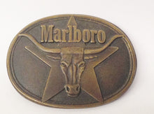 Load image into Gallery viewer, 1987 Philip Morris Marlboro Cigarettes Solid Brass Belt Buckle With Bull