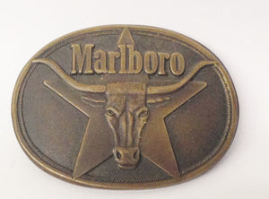 1987 Philip Morris Marlboro Cigarettes Solid Brass Belt Buckle With Bull