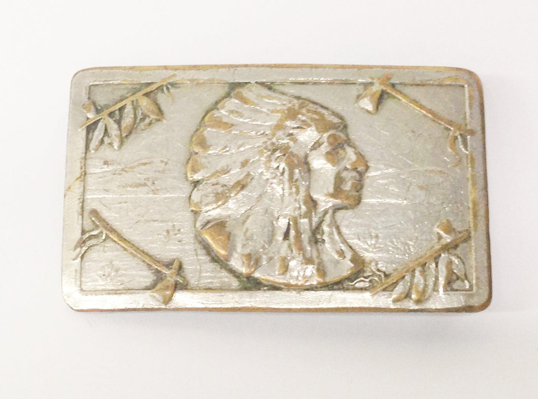 Vintage Keyston Bros. San Francisco Native American Indian Chief Belt Buckle www.hersandhistreasures.com
