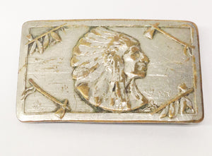 Vintage Keyston Bros. San Francisco Native American Indian Chief Belt Buckle