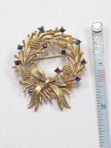 Rhinestone Christmas Wreath Brooch Pin