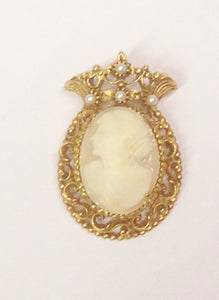 Florenza Gold Toned Shell Cameo Brooch Pin Or Necklace Pendant With Seed Pearls