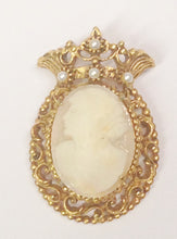 Load image into Gallery viewer, Florenza Gold Toned Shell Cameo Brooch Pin Or Necklace Pendant With Seed Pearls www.hersandhistreasures.com