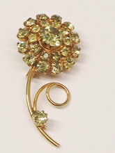 Load image into Gallery viewer, Light Green Rhinestone Gold Toned Flower Brooch Pin