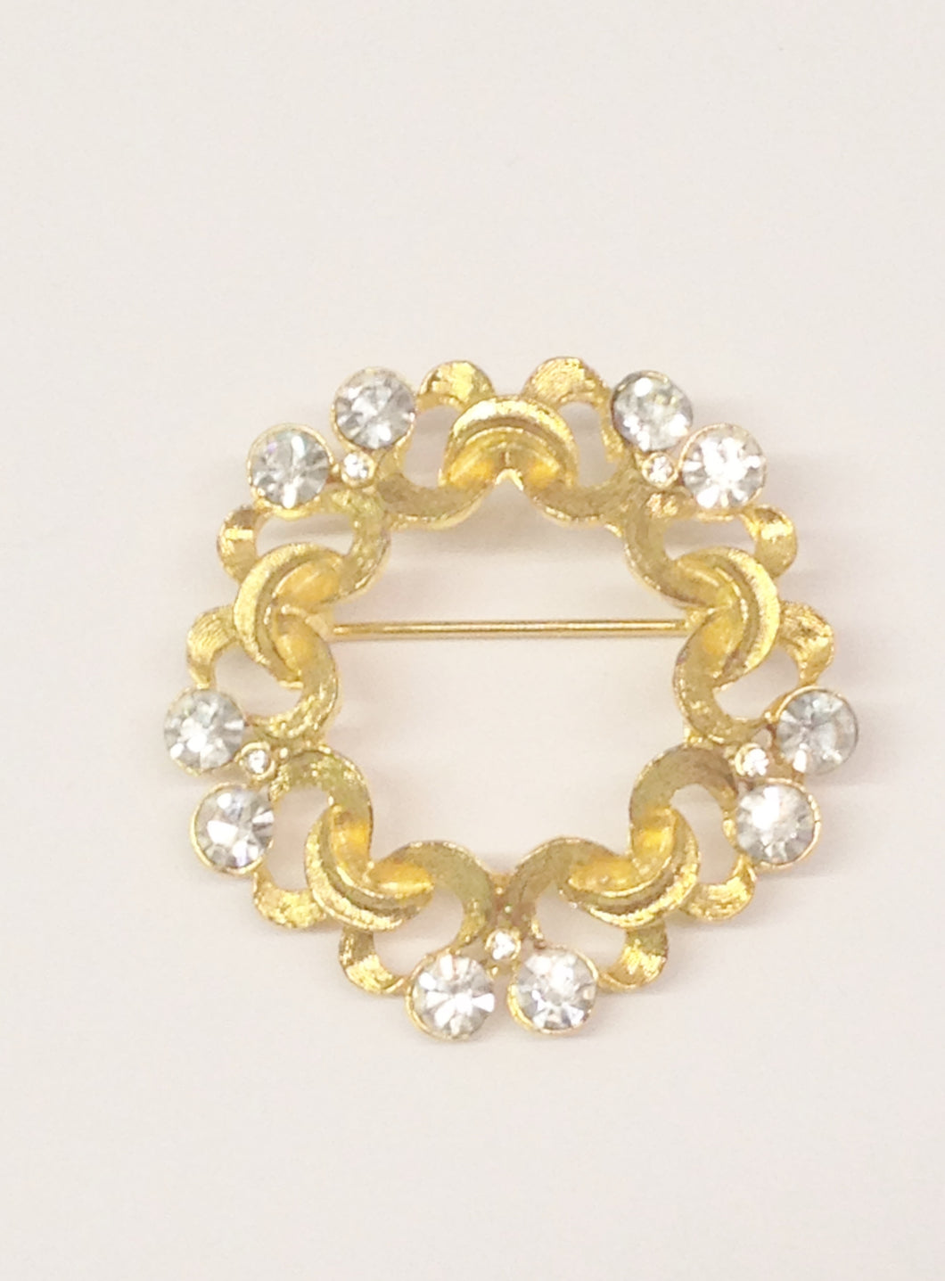 Gold Toned and Clear Rhinestone Round Brooch Pin www.hersandhistreasures.com