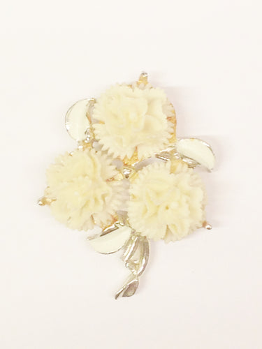 1940's Celluloid Triple Flower Brooch Pin www.hersandhistreasures.com