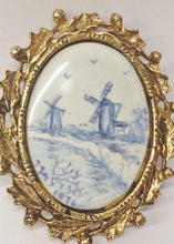 Load image into Gallery viewer, 1976 Oval Porcelain Windmill Pictures Set In A Gold Toned Pendant Brooch Pin