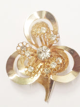 Load image into Gallery viewer, Gold Tone 3 Leaf Clover Clear Rhinestone Brooch Pin www.hersandhistreasures.com