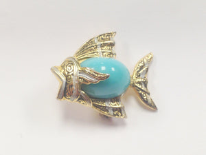 Toledoware Damascene Style Angel Fish Faux Turquoise Brooch Pin Spain www.hersandhistreasures.com