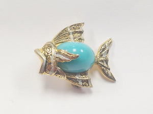 Toledoware Damascene Style Angel Fish Faux Turquoise Brooch Pin Spain