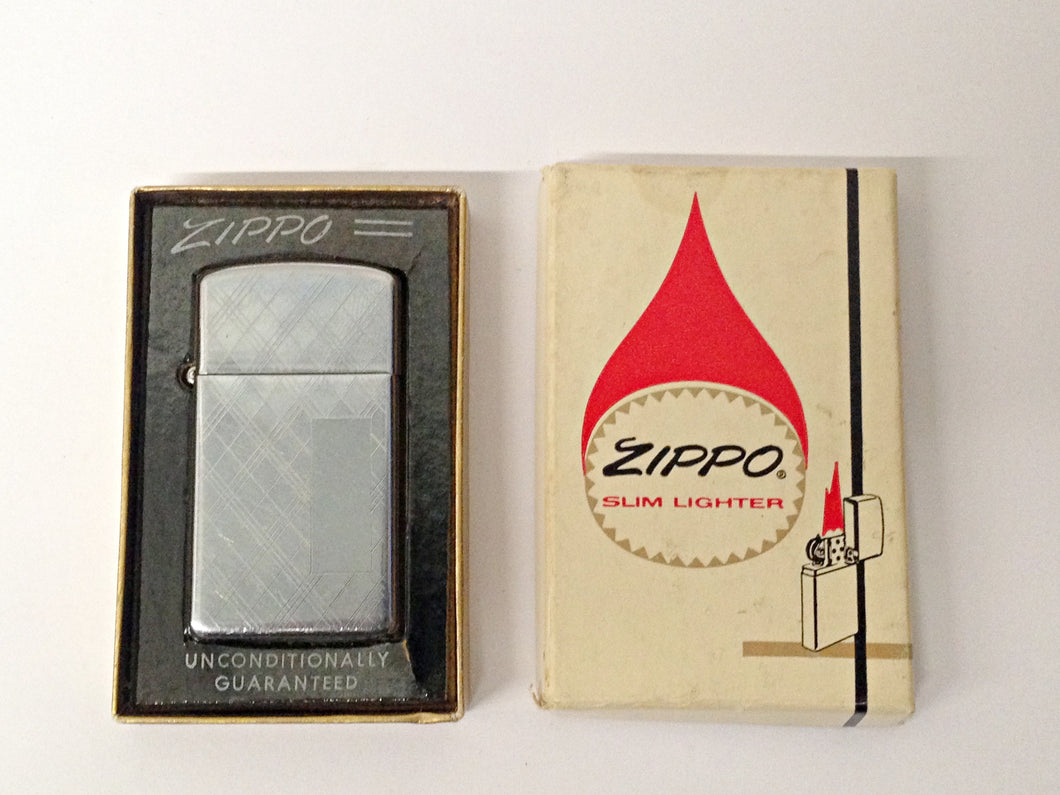 1969 Chrome Etched Slim Zippo Lighter W/ Box