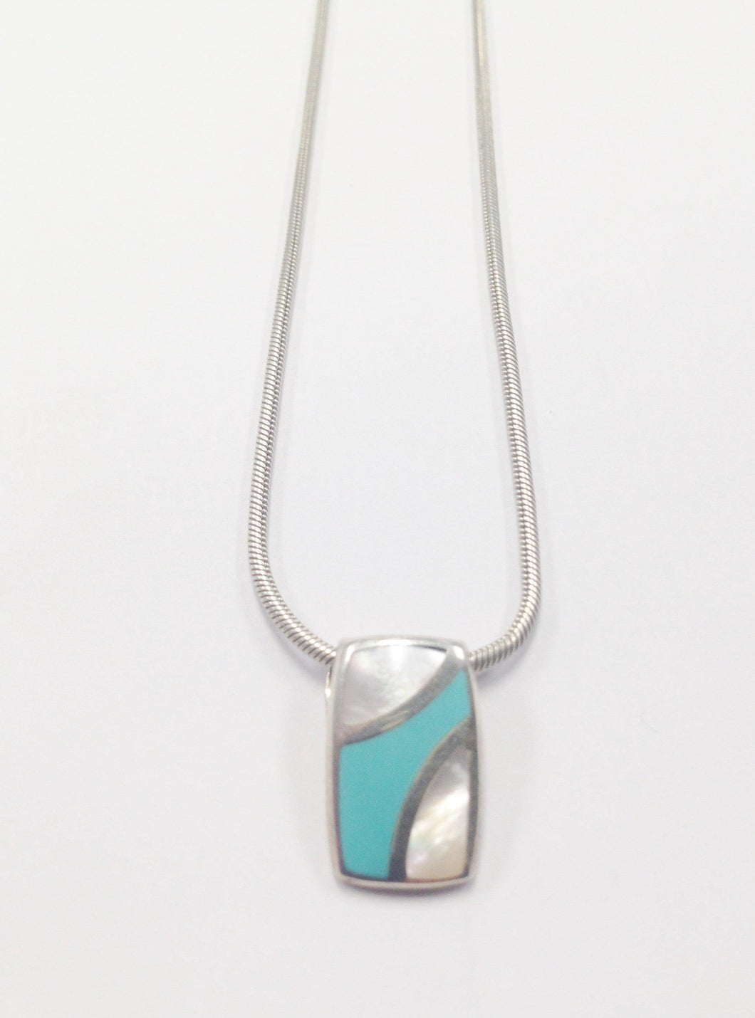 Sterling Silver Necklace W/ Turquoise and Mother of Pearl Pendant www.hersandhistreasures.com