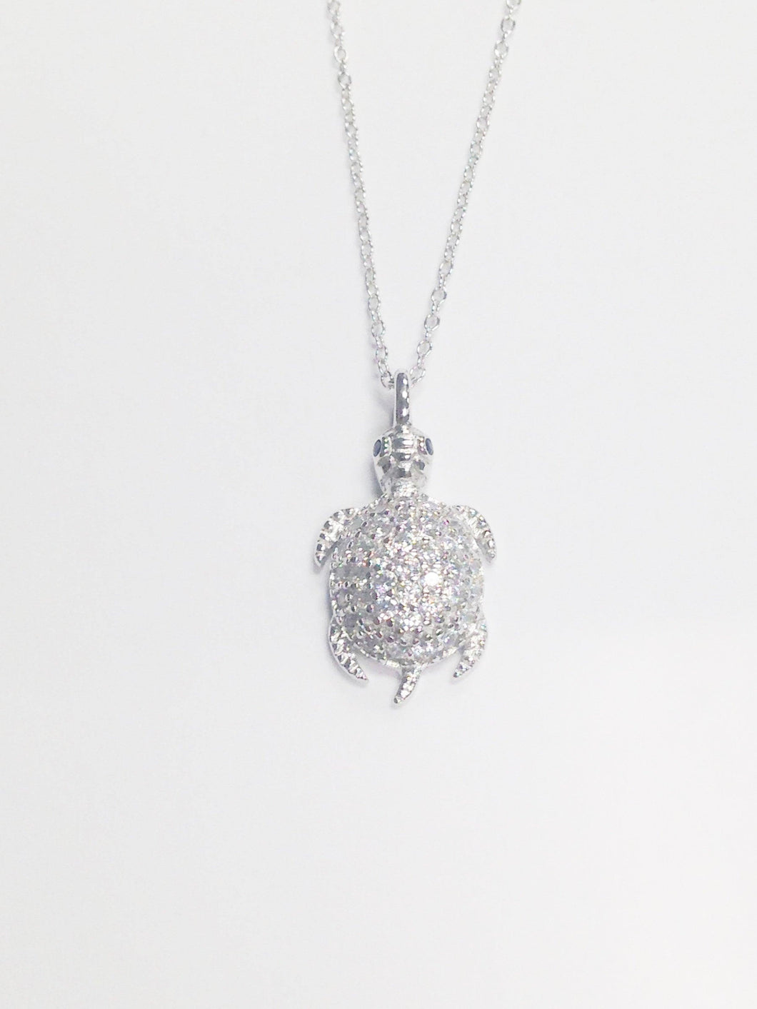 Sterling Silver .925 CZ Turtle Necklace www.hersandhistreasures.com