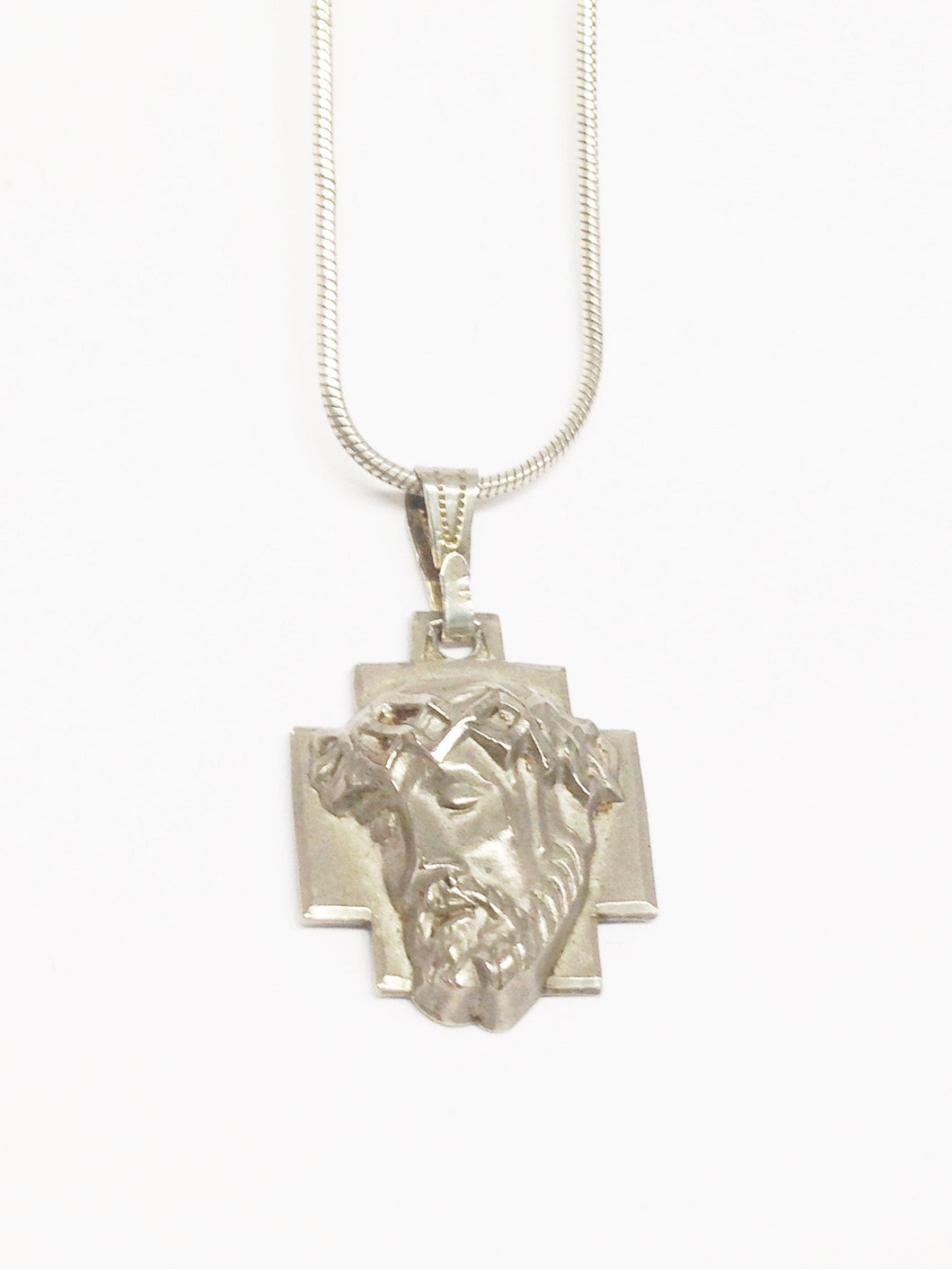 Sterling Silver .925 Chapel Crown Of Thorns Face Of Jesus Pendant Necklace www.hersandhistreasures.com