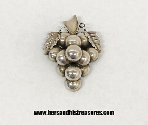 3D Grape Cluster .925 Sterling Silver Brooch Pin A. Dominguez Taxco