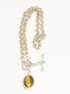 Sterling Silver .925 ESPO SIG Large Chain Link Tigers Eye Pendant Toggle Necklace www.hersandhistreasures.com