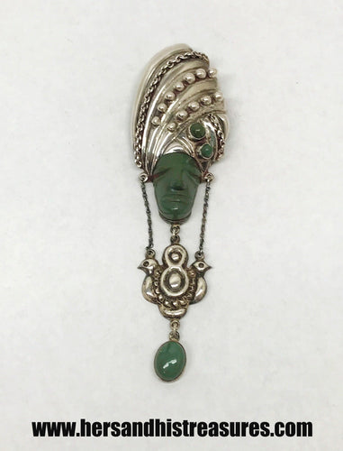Vintage Aztec Tribal Jade Large Sterling Silver Dangling Brooch Pin J.P. Mexico