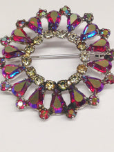 Load image into Gallery viewer, Signed B David Red Irridescent Aurora Borealis & Clear Rhinestone Brooch Pin