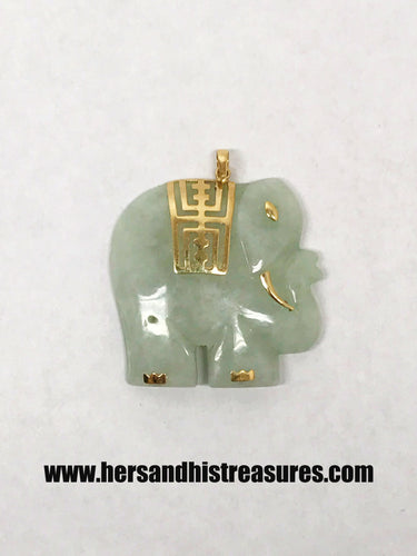 14K Gold Carved Jade Large Elephant Pendant