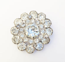 Load image into Gallery viewer, Vintage Silver Tone W/ Clear Rhinestone Round Brooch