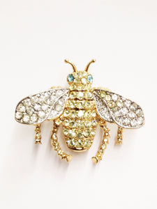 Kenneth J Lane KJL Bee Rhinestone Brooch Pin www.hersandhistreasures.com