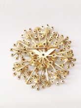 Load image into Gallery viewer, Gold Tone Starburst Aurora Borealis Large Brooch Pin