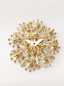 Gold Tone Starburst Aurora Borealis Large Brooch Pin