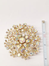 Load image into Gallery viewer, Gold Tone Starburst Aurora Borealis Large Brooch Pin www.hersandhistreasures.com