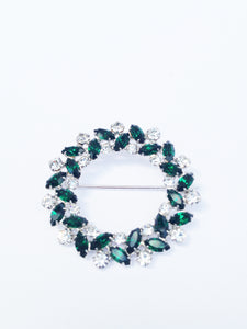 B. David Emerald Green and Clear Rhinestone Brooch Pin and Earring Set www.hersandhistreasures.com