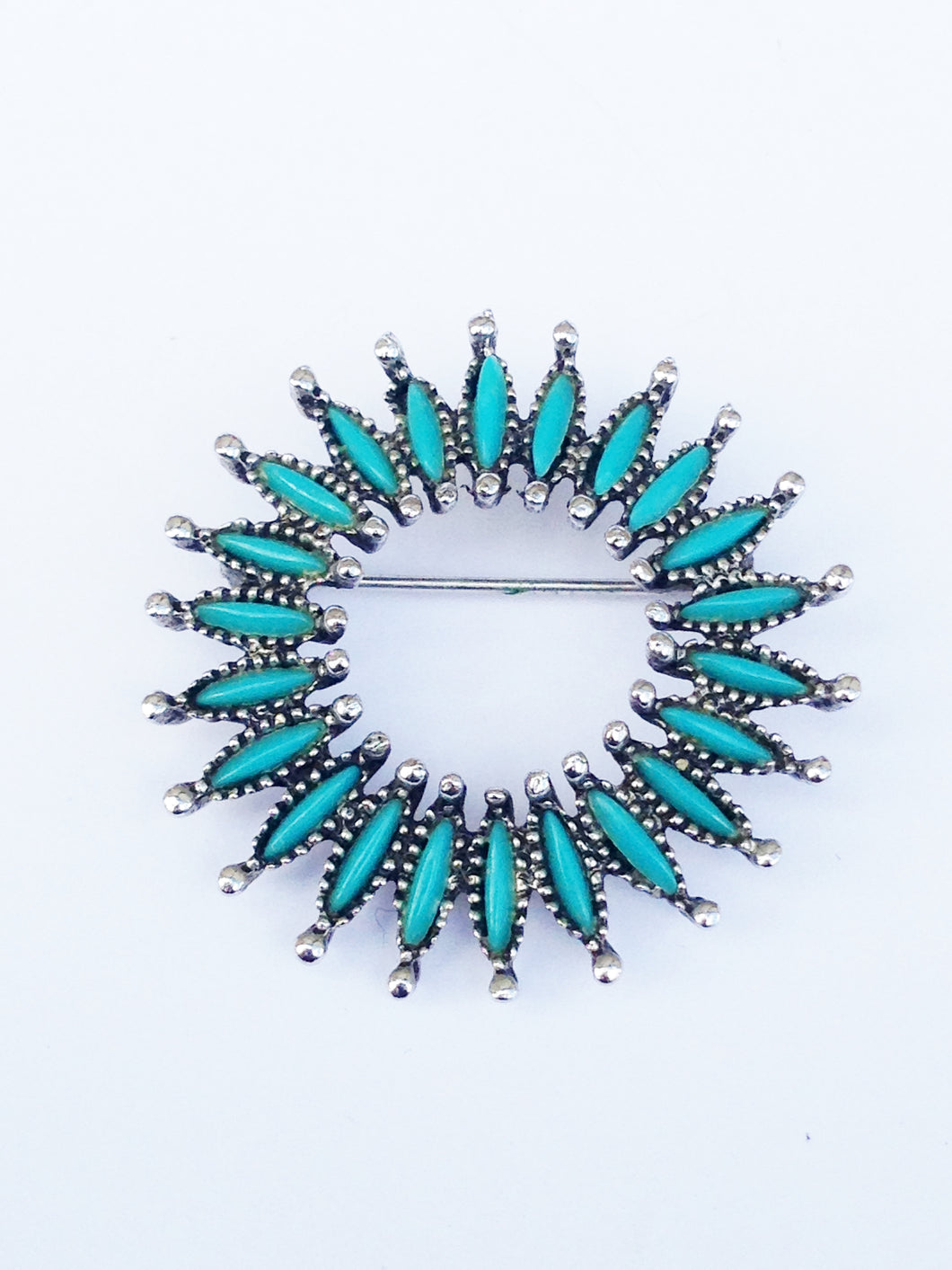 Faux Turquoise Petite Point Brooch Pin www.hersandhistreasures.com
