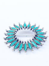 Load image into Gallery viewer, Faux Turquoise Petite Point Brooch Pin www.hersandhistreasures.com