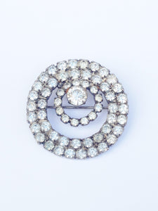 Monet Clear Rhinestone Round Brooch Pin www.hersandhistreasures.com