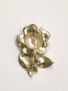 Large Faux Pearl Flower Brooch Pin