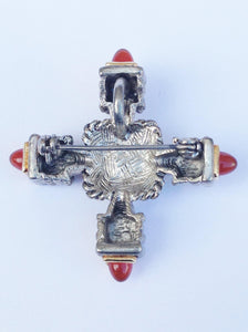 Silver Tone Lucite And Rhinestone Cross Pendant Brooch Pin www.hersandhistreasures.com