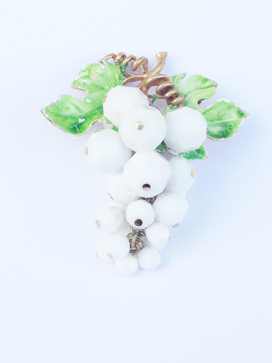 Vintage Gold Tone Grapevine White Faceted Beaded Grapes Brooch Pin www.hersandhistreasures.com