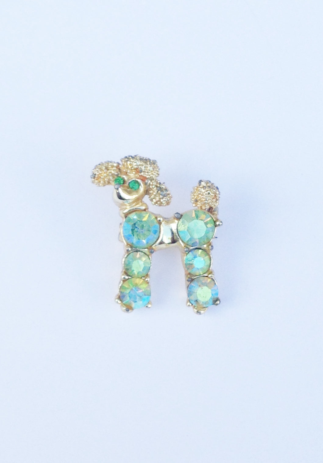 Gold Tone Green Aurora Borealis Poodle Dog Brooch Pin www.hersandhistreasures.com