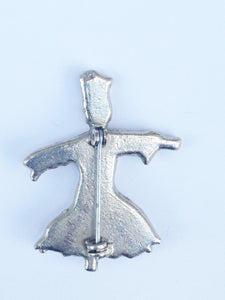 Silver Tone Female Scarecrow Brooch Pin