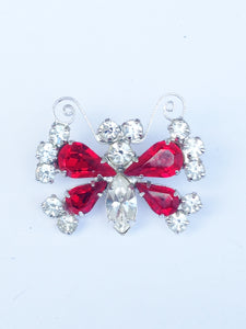 B. David Red And White Rhinestone Butterfly Brooch Pin www.hersandhistreasures.com