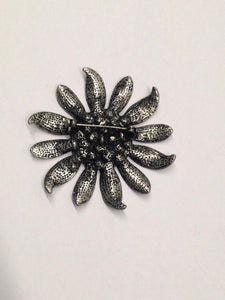 Flower Brooch With Blue Rhinestone Center