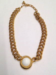Trifari White Cabochon Gold Chain Necklace