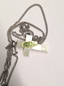 Vintage Imitation Mother Of Pearl Cross Necklace