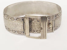 Load image into Gallery viewer, Vintage Silver Tone Belt Buckle Bracelet www.hersandhistreasures.com/collection/vintage-jewelry