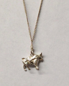 Sterling Silver Bull Pendant Necklace