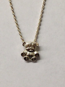 Teddy Bear Sterling Silver Necklace